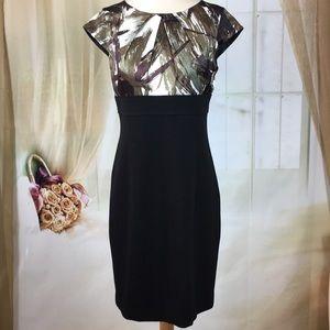 Ann Taylor Cap Sleeved Abstract Career Dress